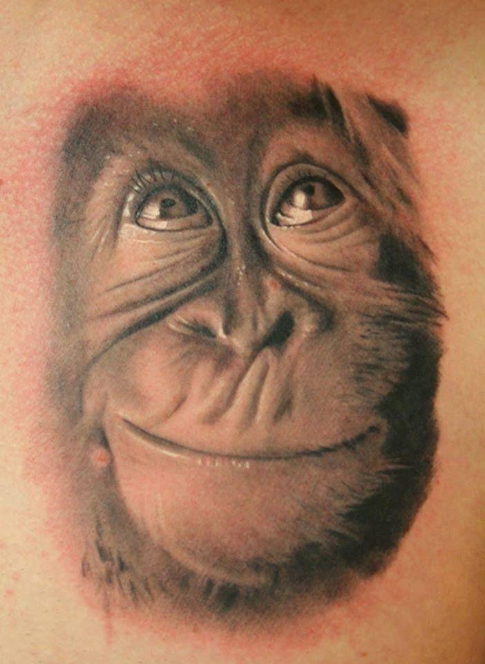 tattoostudio nadelwerk orangutan realistic tattoo roman sestakov romka pinterest. Black Bedroom Furniture Sets. Home Design Ideas