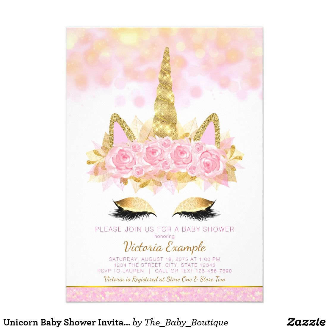 Unicorn Baby Shower Invitations Pink Gold Unicorn Baby Shower