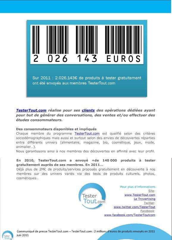 Pour +2M€ de produits furent proposés en découverte à la mi-2011