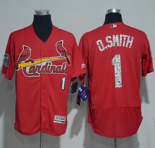 Men's St. Louis Cardinals #1 Ozzie Smith Retired Red Cool Base Baseball Jersey