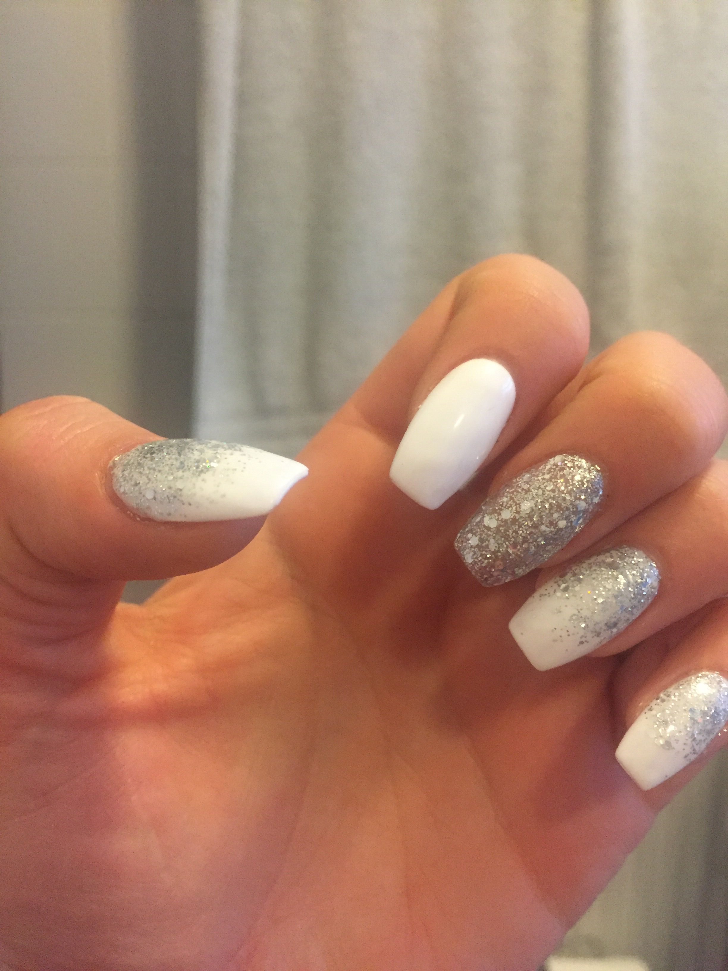 White And Silver Nails With Design Gel Polish Glitter Coffin Shape Nail Art Acrylic Brig White And Silver Nails Silver Nail Designs Silver Nails