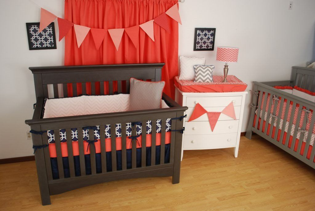 grey and coral chevron bedding (With images)   Grey and ...