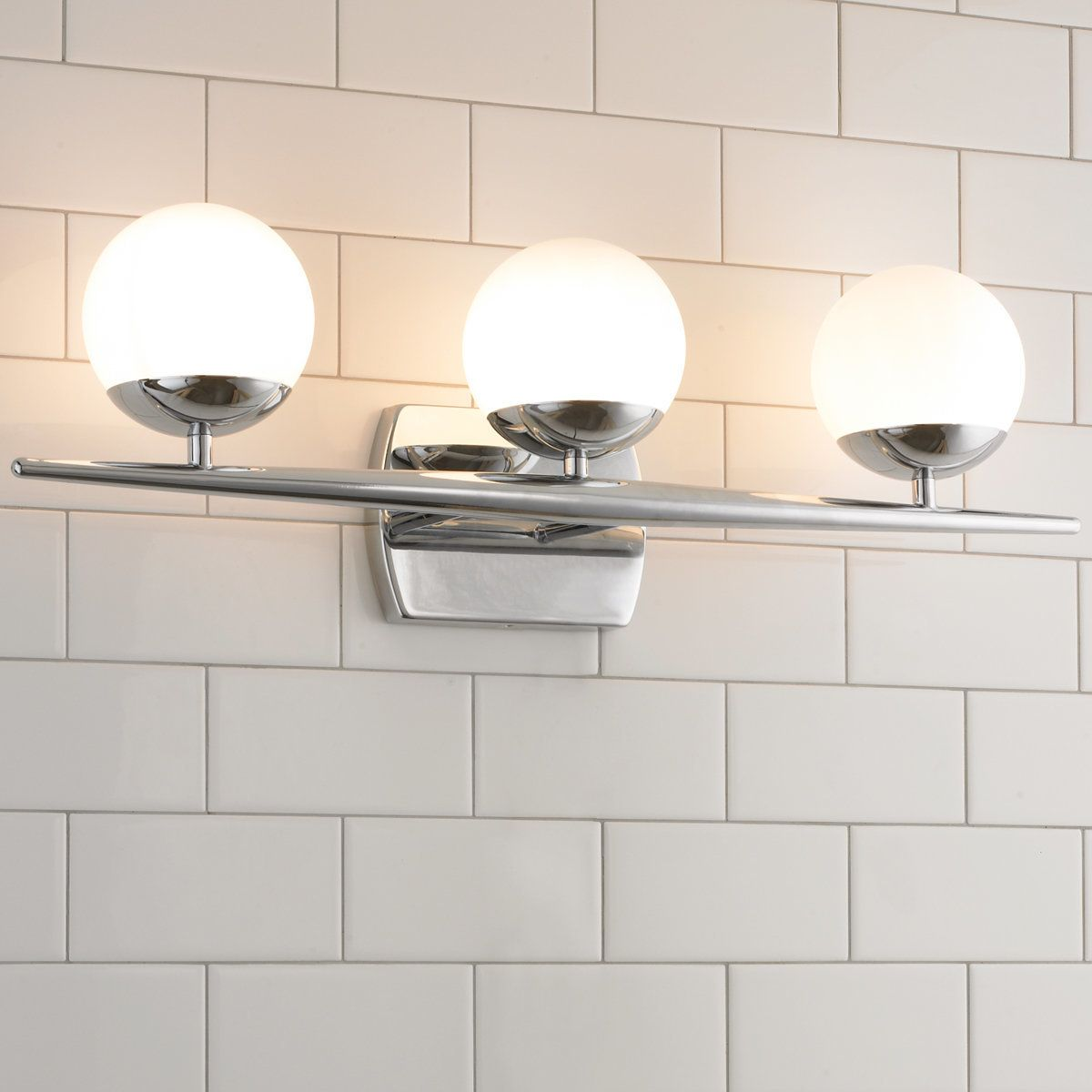 Linear Globe Bath Light 3 Light In 2021 Contemporary Bathroom Lighting Bath Light Bathroom Light Fixtures