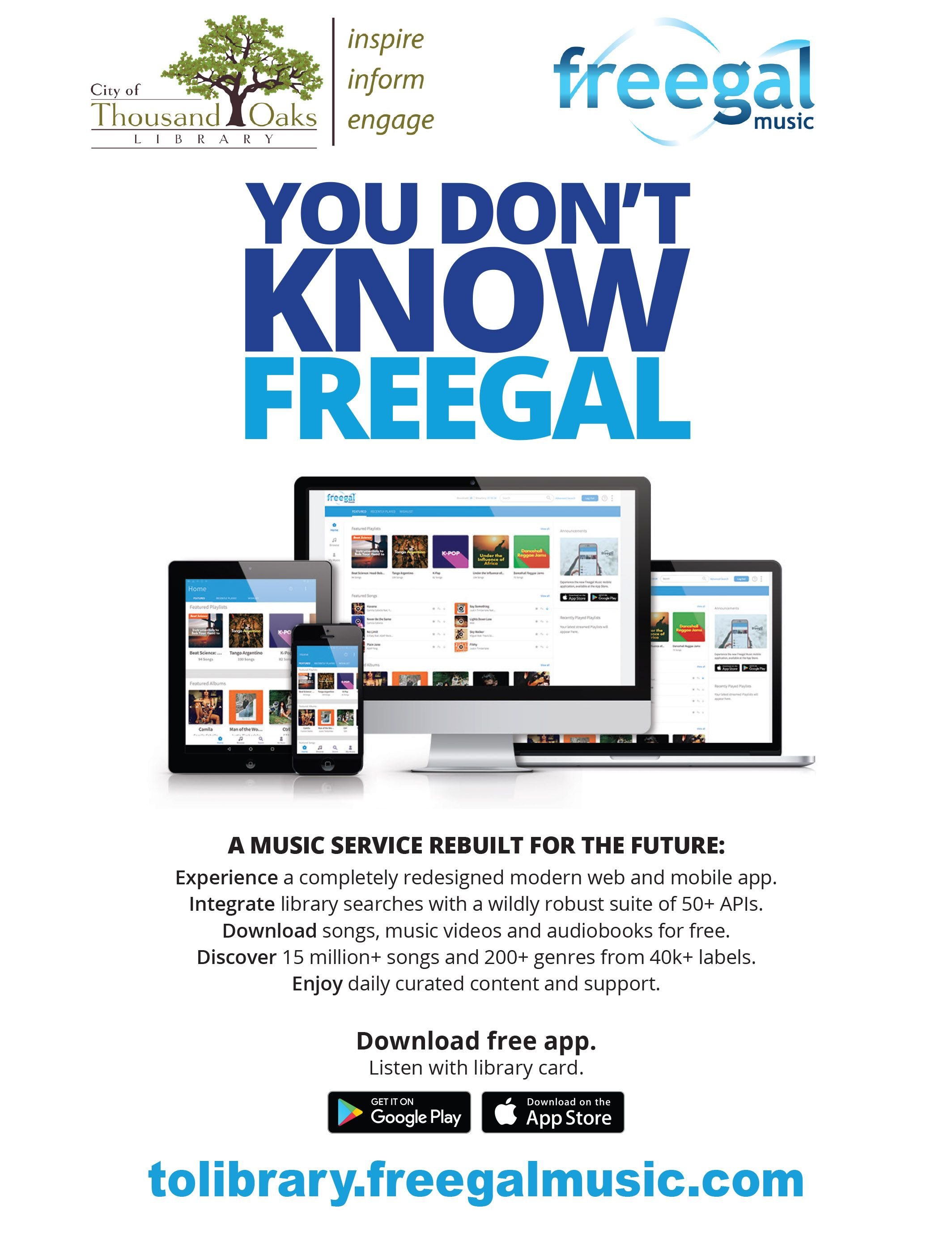 Freegal Music allows you to download songs, music videos and