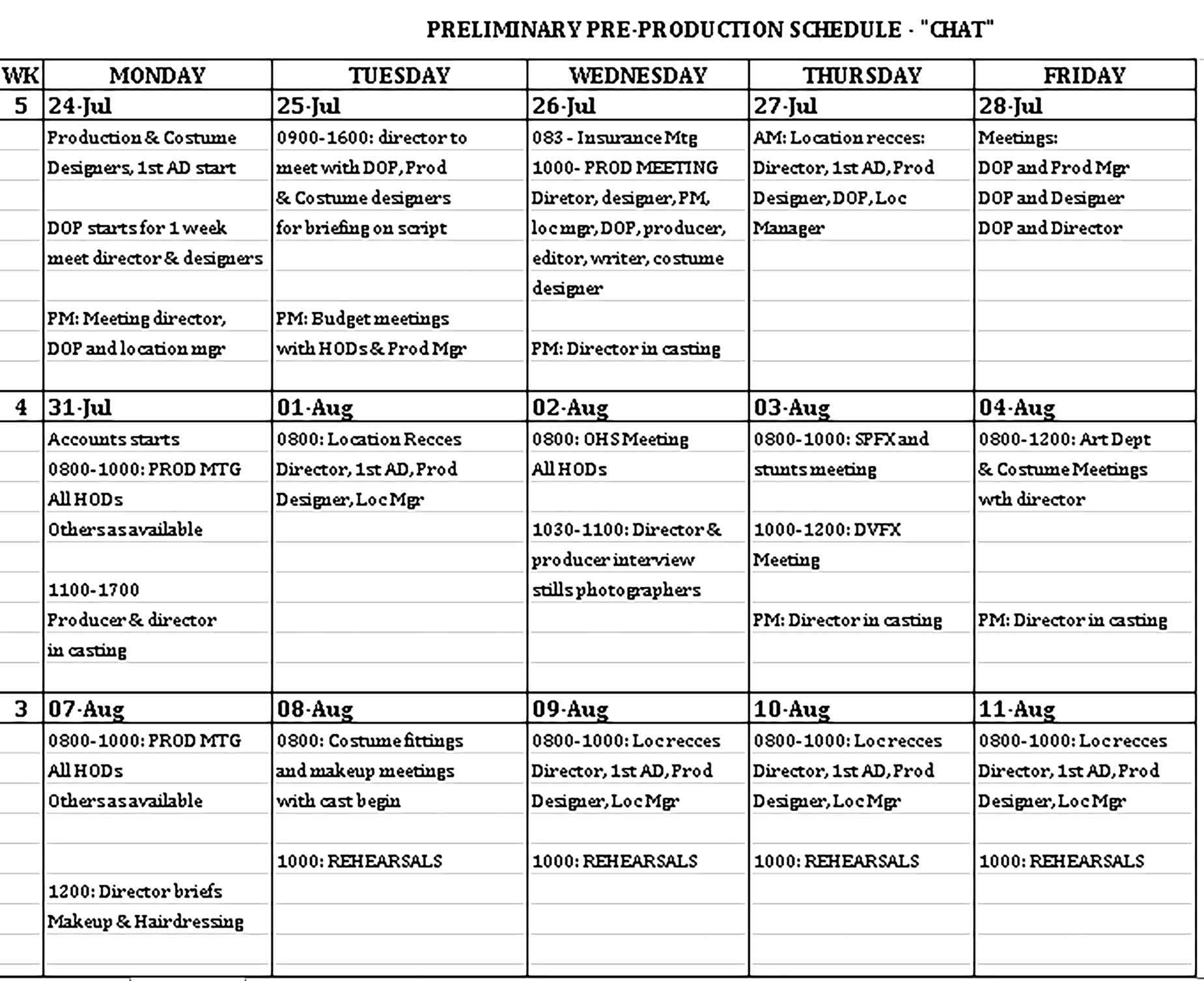 Production Schedule Template Sample Schedule Template Templates Business Template