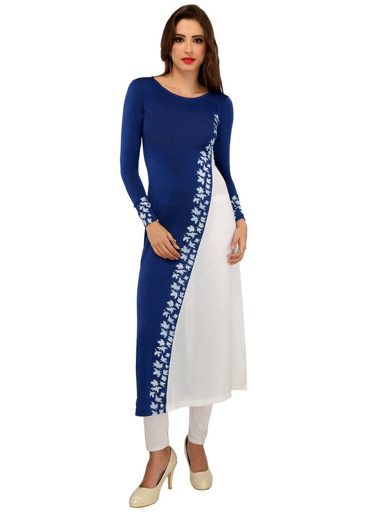 35258a77ed Blue and white cut and sew daigonal design long kurti made in soft poly  stretch knit fabric