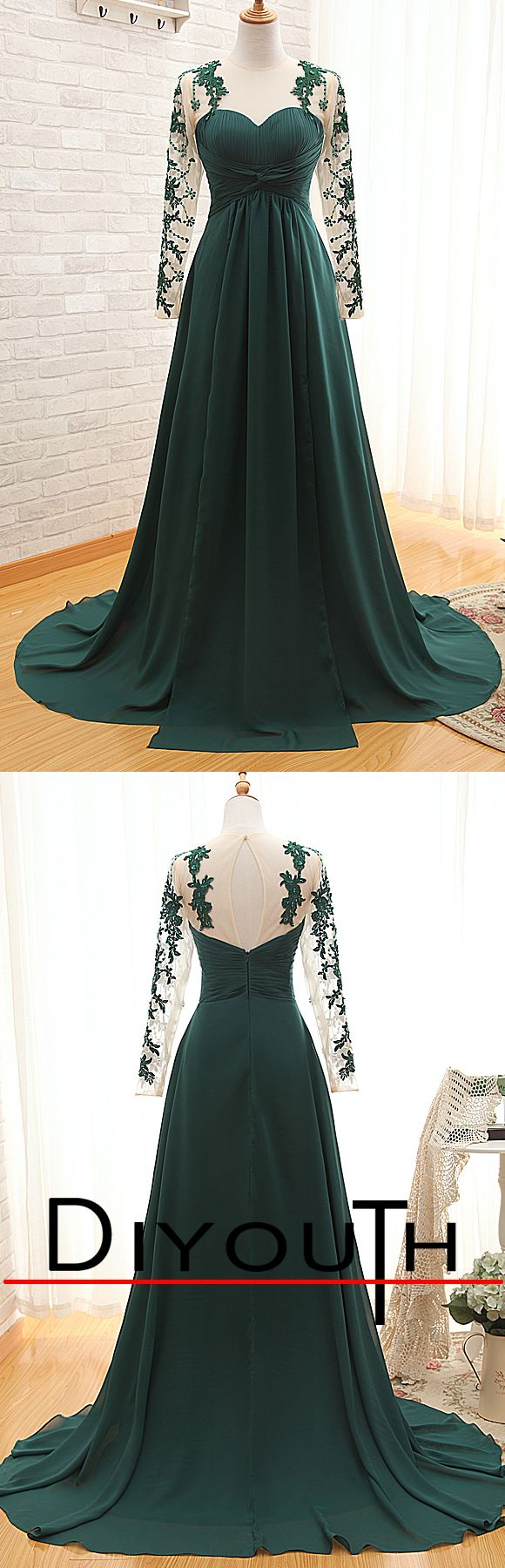 Elegant emerald see through lace long sleeve a line long prom