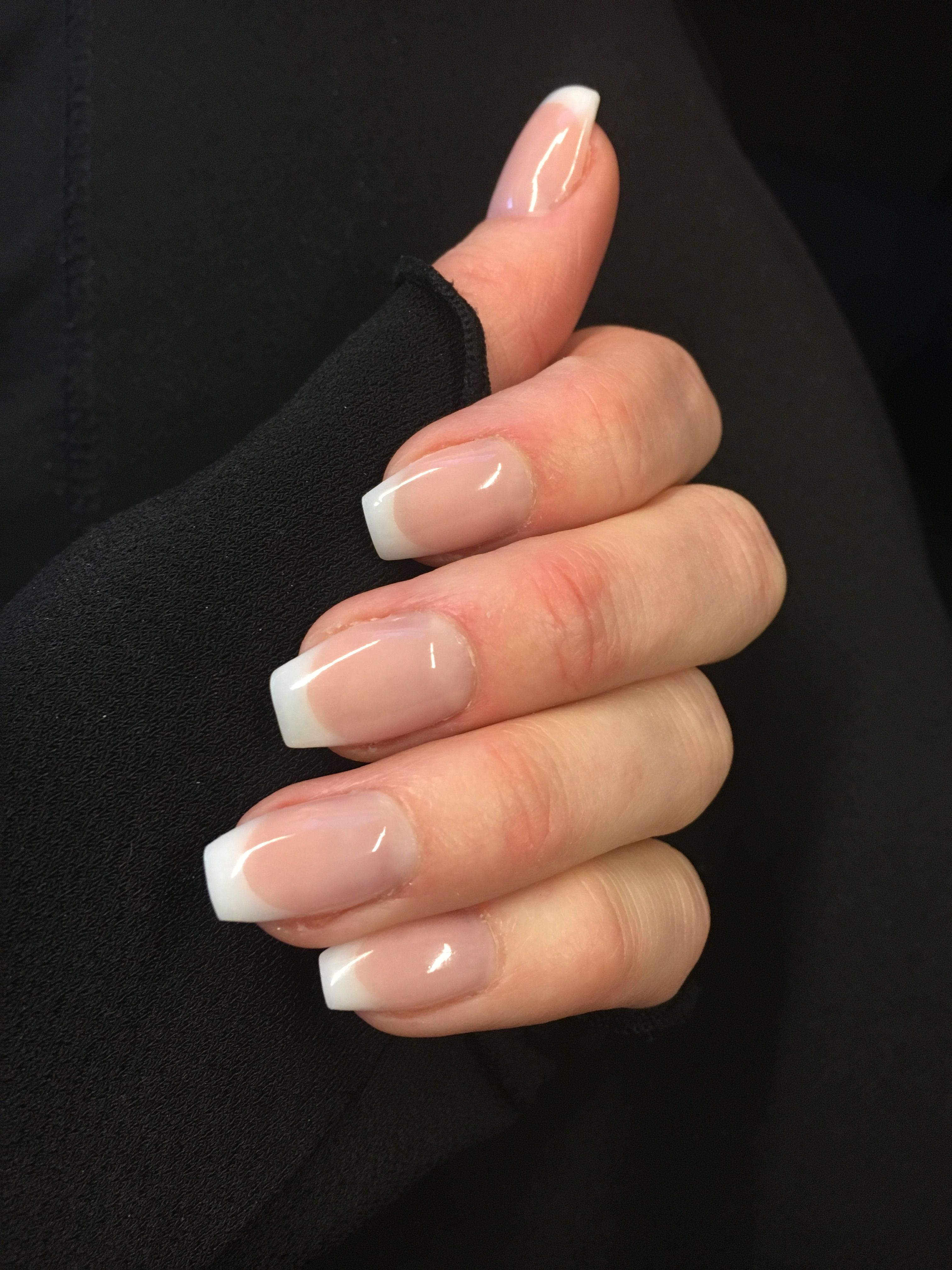 Classic French Manicure Short Ballerina Shape Oh Yes Love For Grad I Think With Pearl Ti French Tip Nail Designs French Tip Acrylic Nails Ombre Acrylic Nails