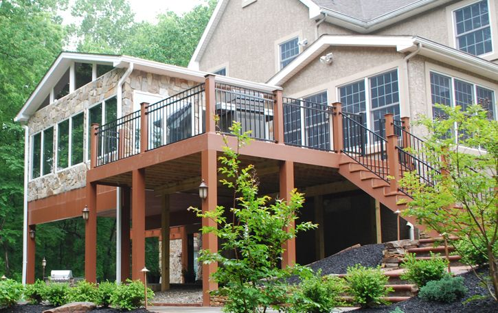 Covered deck designs multi level decks archadeck for Two story sunroom