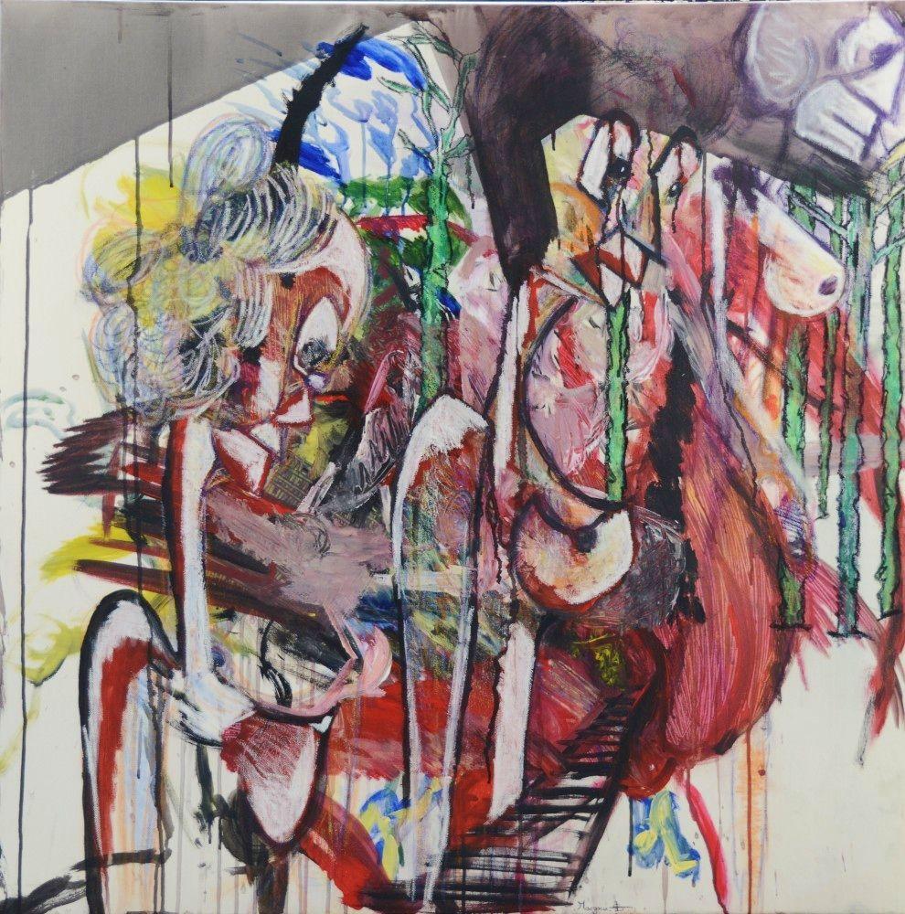 """""""Passage en forêt."""" Techniques mixtes sur toile. 100 x 100 cm www.margauxsalmi.com"""