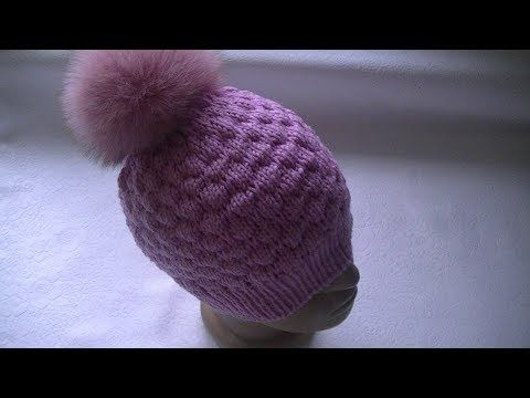 Knitting a hat of \'bouffe\' pattern - YouTube | Cappelli | Pinterest