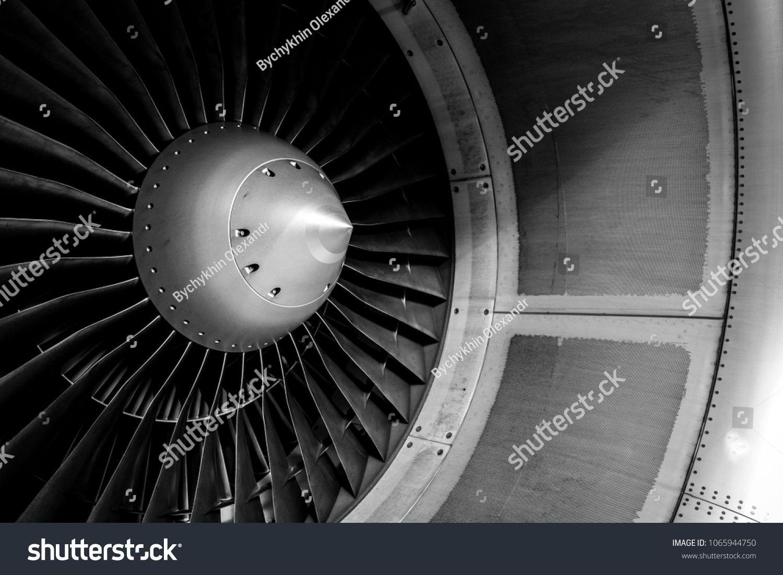 Blades of an aircraft engine closeup travel and