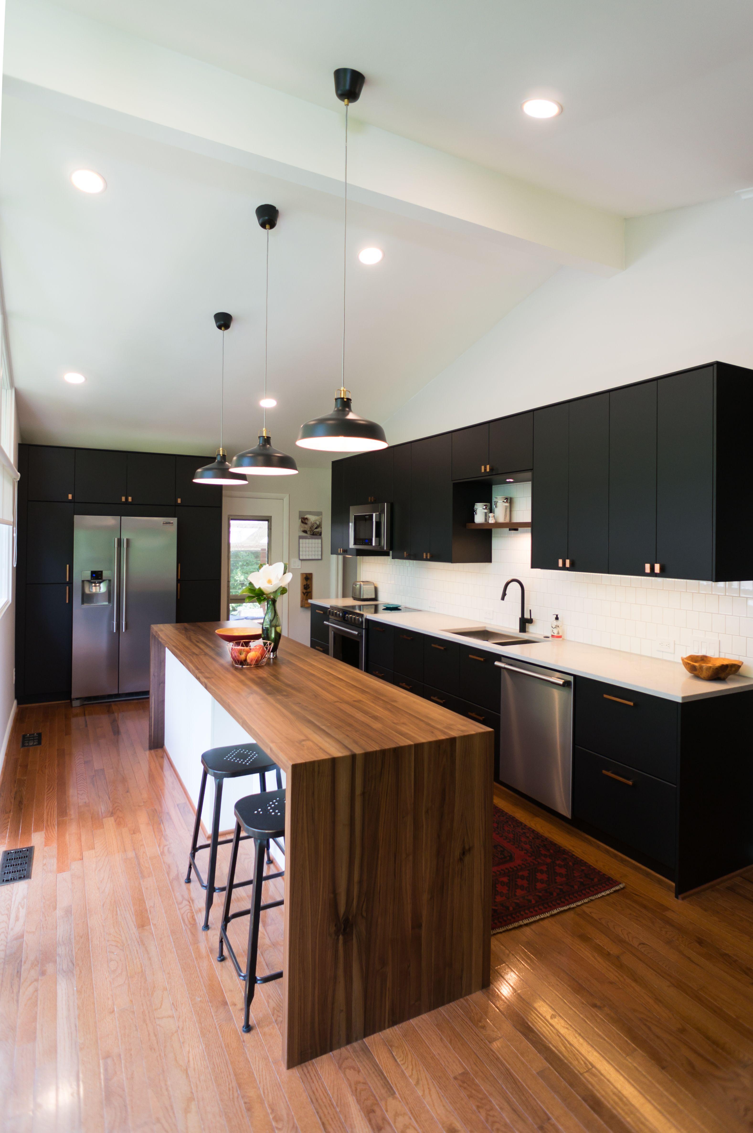 modern ikea kitchen with clean lines and smart storage waterfall edge walnut island unique on kitchen island ideas kids id=97707