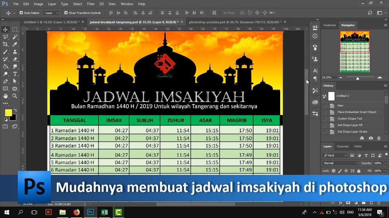 Cara Membuat Jadwal Imsakiyah Di Excel Photoshop Free Psd Tutorial89 Tutorial Photoshop Di Video Ini Kita Akan Belajar Bagaim Photoshop Belajar Ramadan