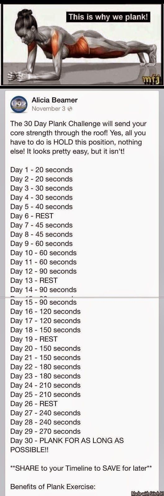 Planking is serious hard core. Beginner try to do 30 seconds. Soon you'll be up to 2 min. Melissa