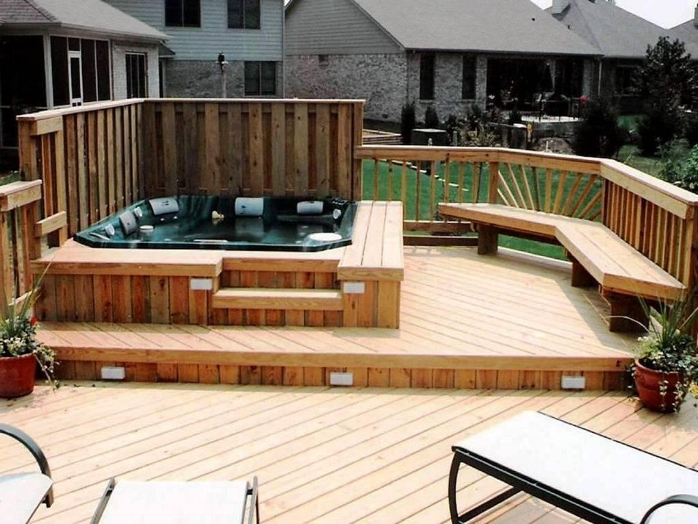 Wooden backyard hot tub deck plans build a hot tub deck for Hot tub deck designs plans
