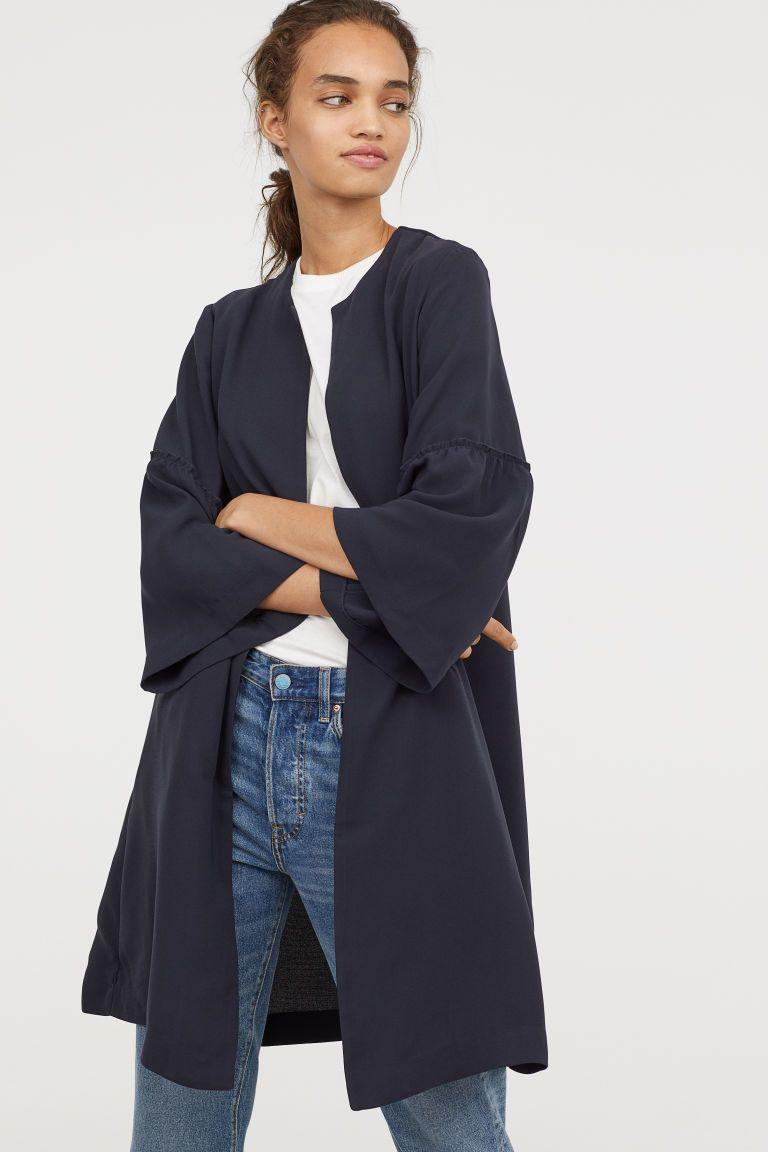 079a44e7c690 Flounce-sleeved Coat - Dark blue - Ladies