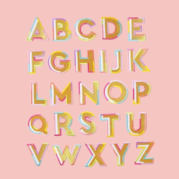 Gold Color Block Letter Patches in 2020 | Block lettering ...