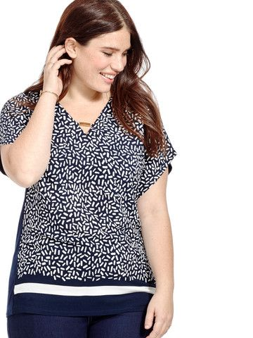 66cf32e8918f81 Plus Size ADRIANNA PAPELL Printed Dolman Top | Polished Looks for ...