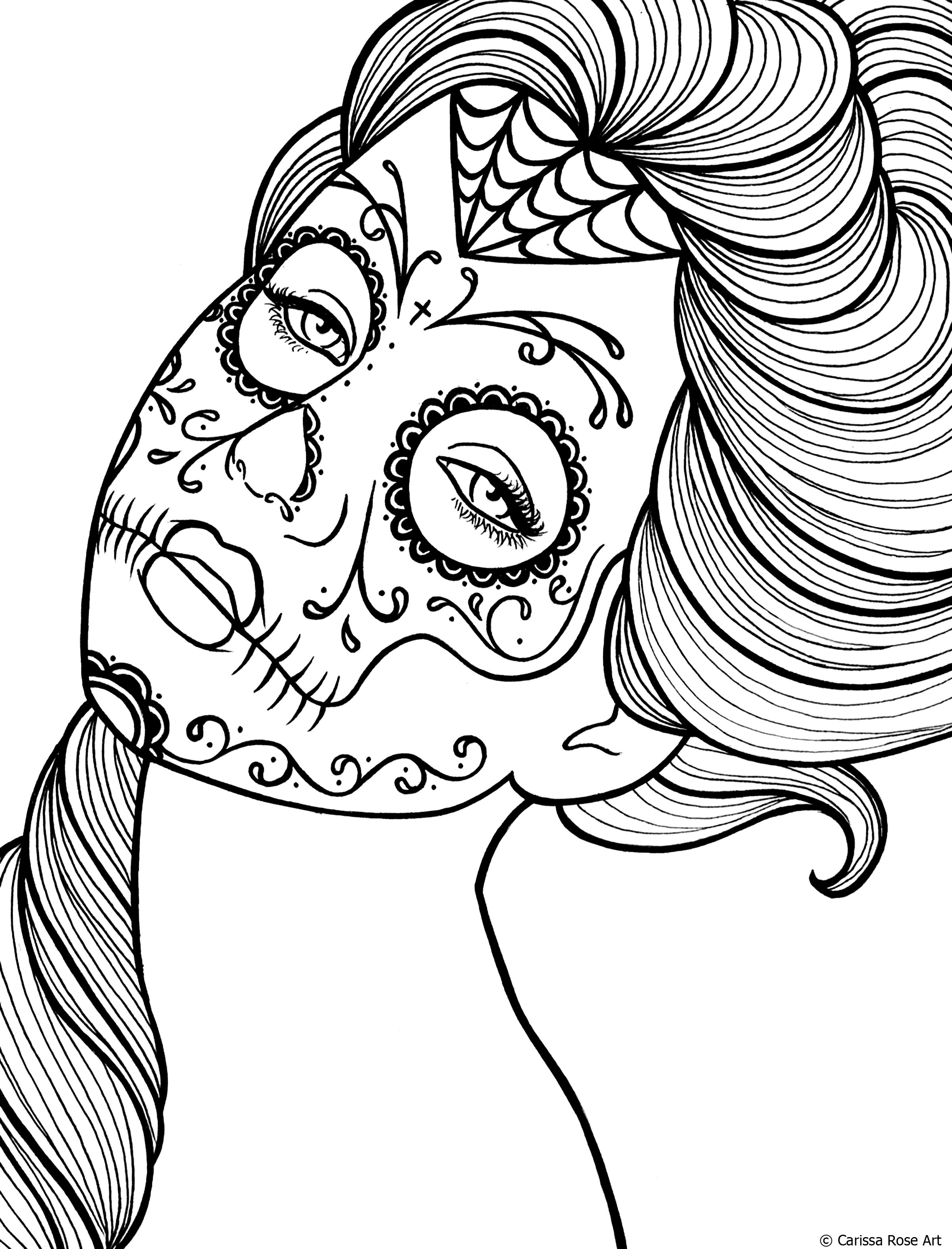 free printable day of the dead coloring book page by misscarissarosedeviantartcom on - Day Of The Dead Coloring Book