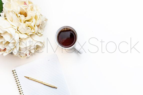 White Notebook, Macarons & Peonies Stock Photo / Styled Stock Photography / Product Mockup / KateMaxStock High Res File #728