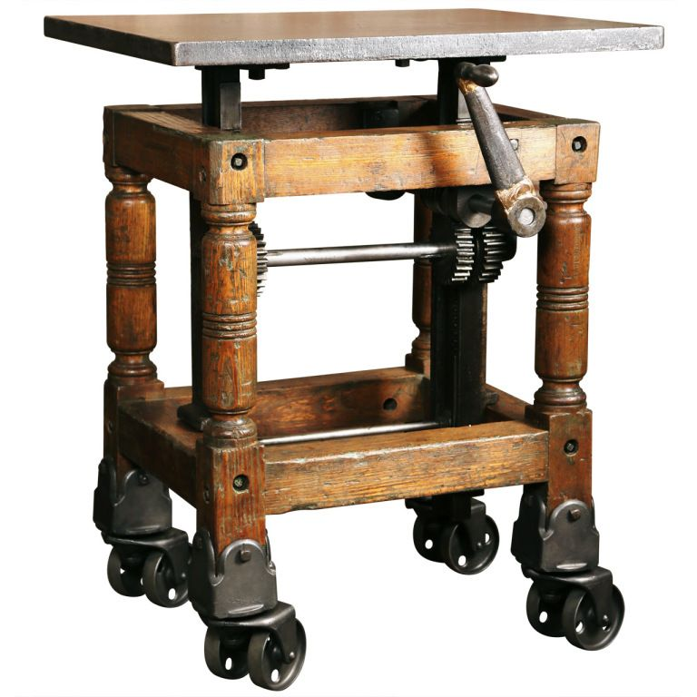 Stylish Designer Coffee Table Industrial Antiques Steam: Vintage Industrial, Adjustable Wood & Cast Iron