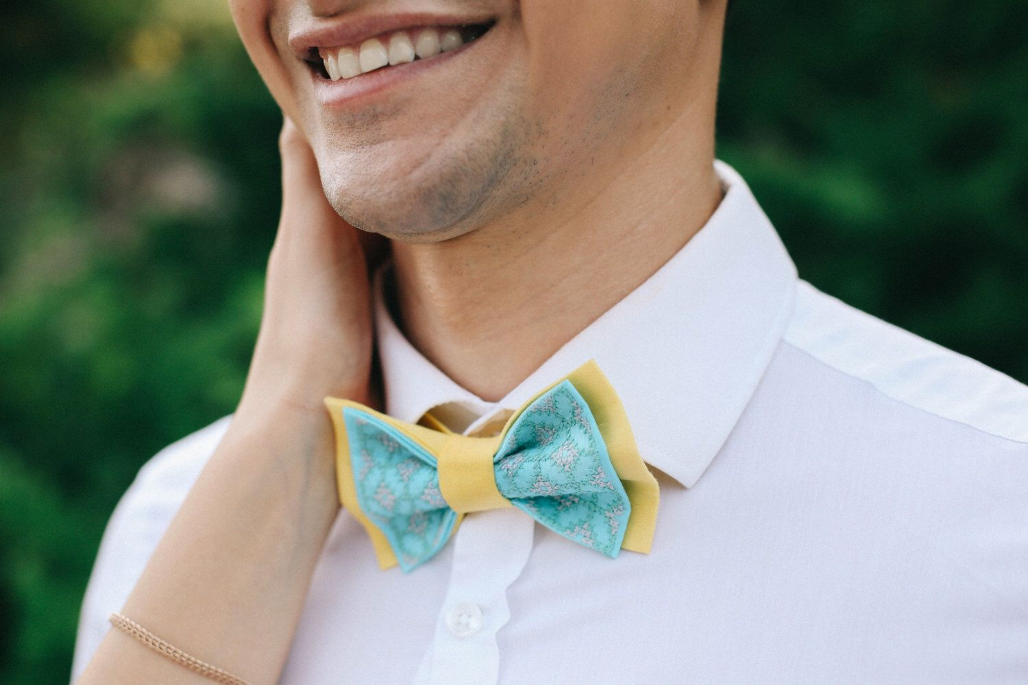 Bowtie bow tie for men embroidered bowtie spa yellow colour wedding