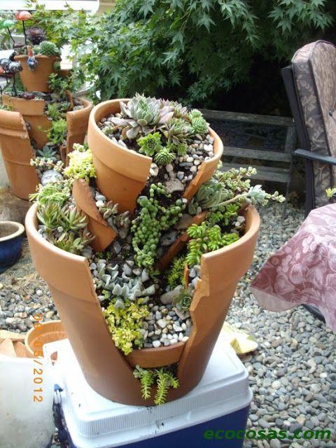 Originales ideas para dar otra vida a las macetas rotas - Ideas originales jardin ...