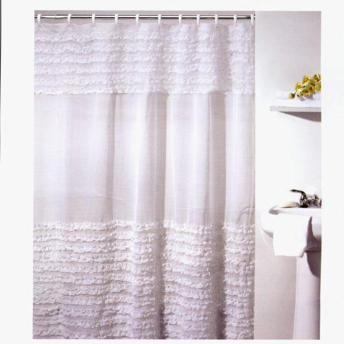 cheap ruffle shower curtain. kid's bathroom.