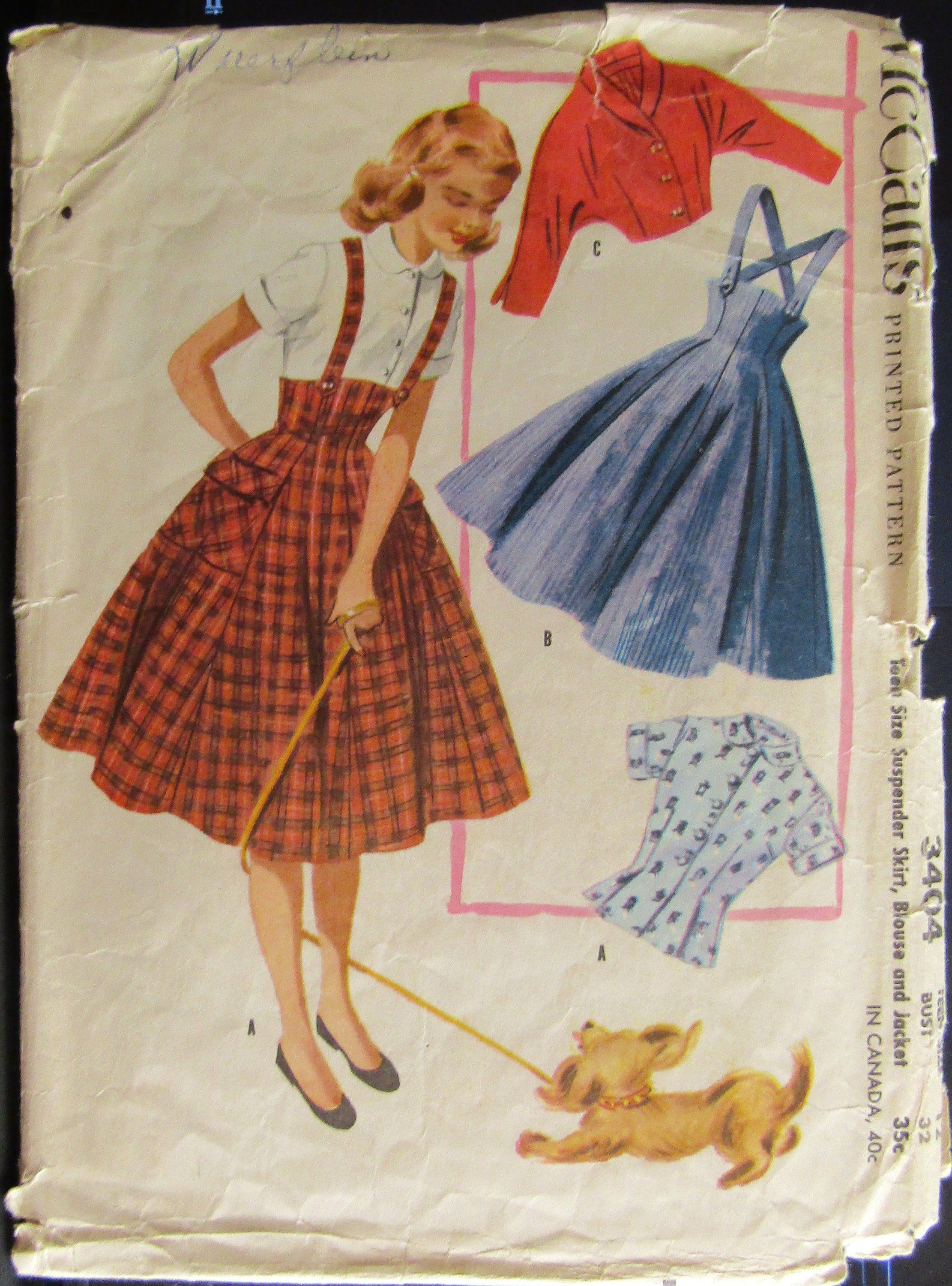 McCalls 3404 1950s Teens Suspenders Skirt Blouse & Jacket Sewing