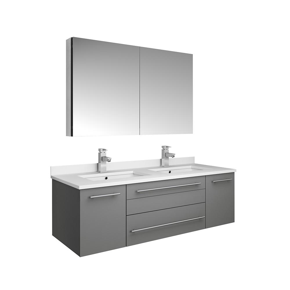 Fresca Lucera 48 In W Wall Hung Vanity In Gray With Quartz Double Sink Vanity Top In White With White Basins Medicine Cabinet Fvn6148gr Uns D The Home Depot Modern Bathroom Vanity Double