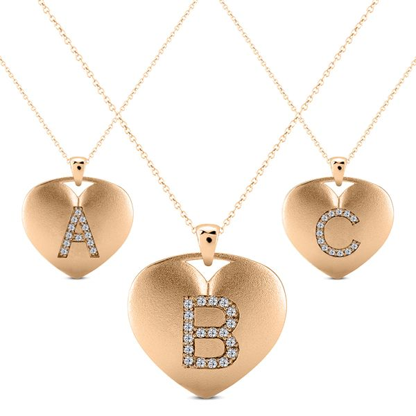14K Rose-Block Initial Necklace