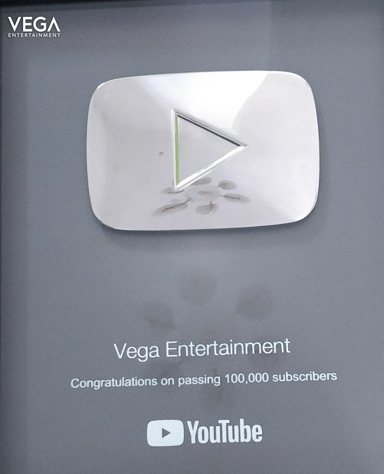 Thank You Youtube For Presenting Us Youtube Silver Play Button To Vega Entertainment Youtubesilverplaybutton2018 2018 Gold Play Button Play Button Vega
