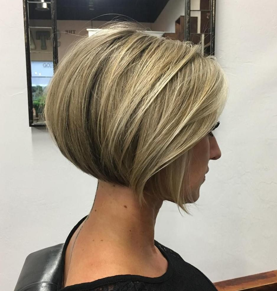 Dark Blonde Rounded Jaw-Length Bob  Short hairstyles for thick