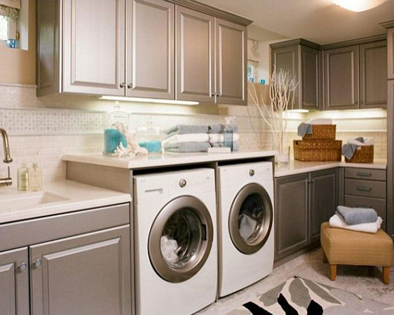 Laundry Room Countertop Ideas Cabinet Set With Wood Panel