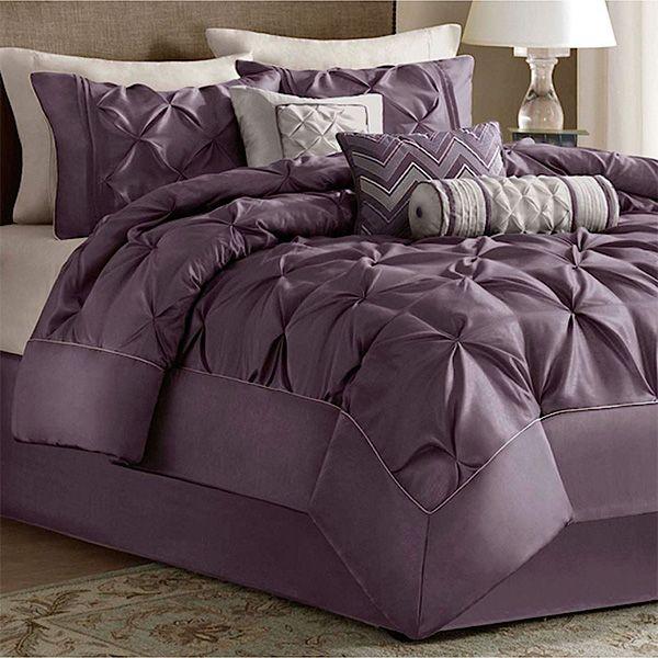 The Elegant Piedmont Plum 7 Piece Comforter Bed Set From Madison Park Includes A Comforter