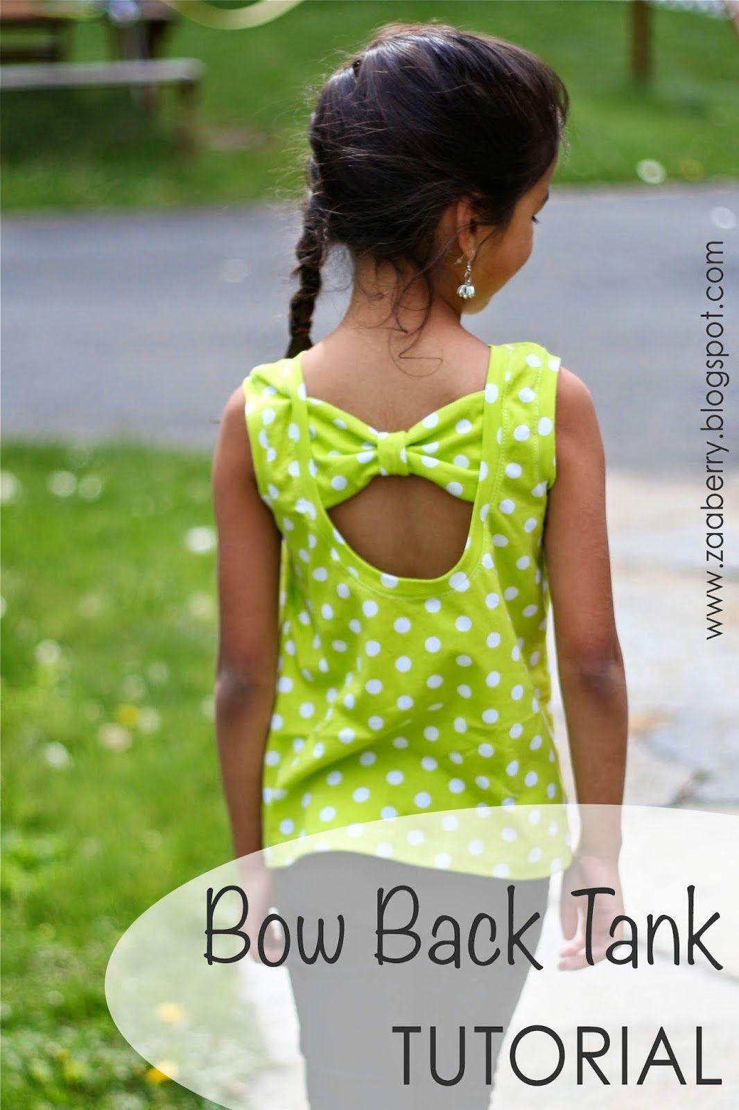 Girls Bow Back Tank Top TUTORIAL (Zaaberry) | Freebooks, Nähprojekte ...