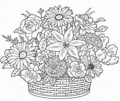 Floral Painting Patterns Flower Coloring Pages Free Adult