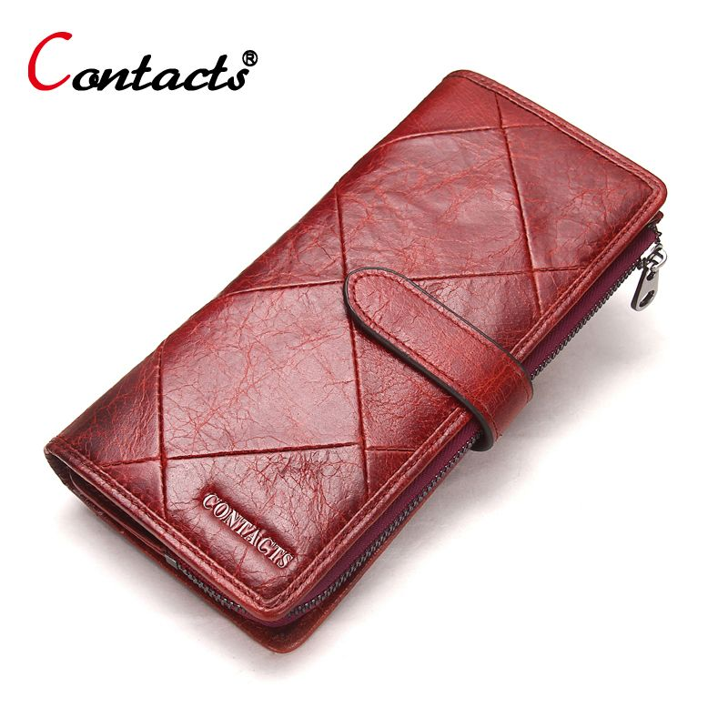 659c3a41f2c2 CONTACT S Wallet Women Red Stitching Genuine Leather Wallet Female Purse  Clutch Money Bag Wallets Patchwork Red Women Clutch New