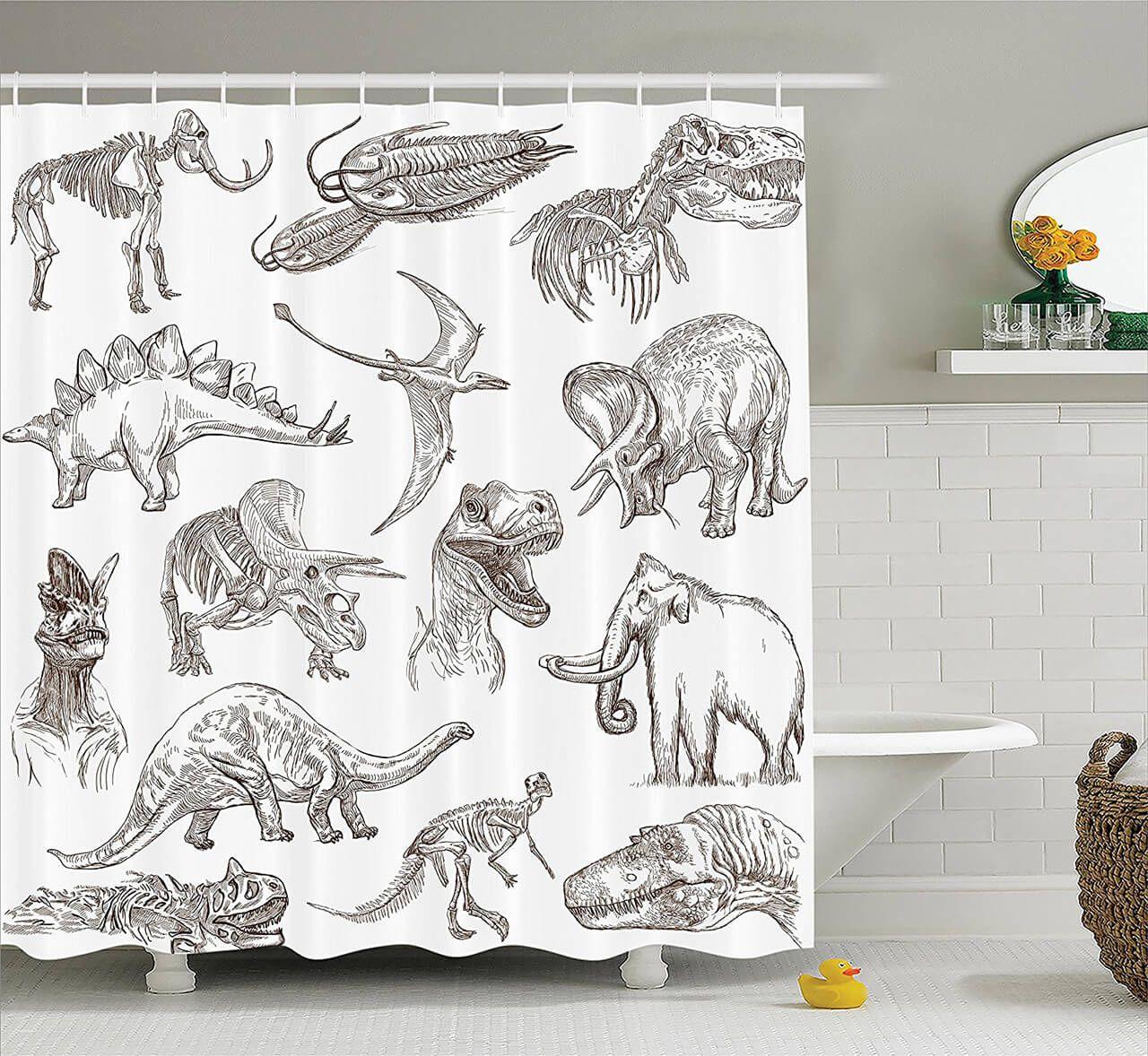 Dinosaur Sketch Curtain Shower Curtain Sets Bathroom