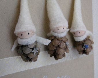 6 Pinecone Elf Ornament Set of 5 Woodland Holiday Decor by kaniko