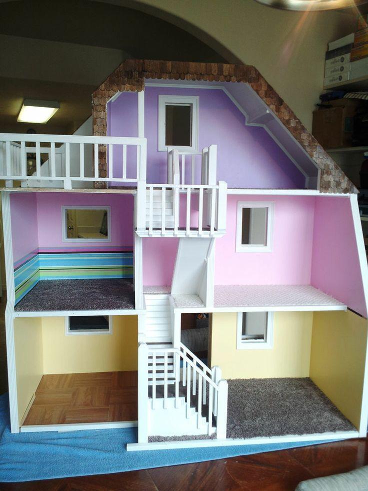 custom barbie house story custom made wood barbie doll house wooden dream dollhouse - Wooden Dollhouses Designs