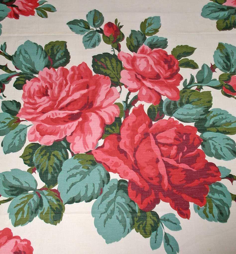 Vintage English Floral Roses Barkcloth Fabric ~ Emerald Green Rose Pink Blue