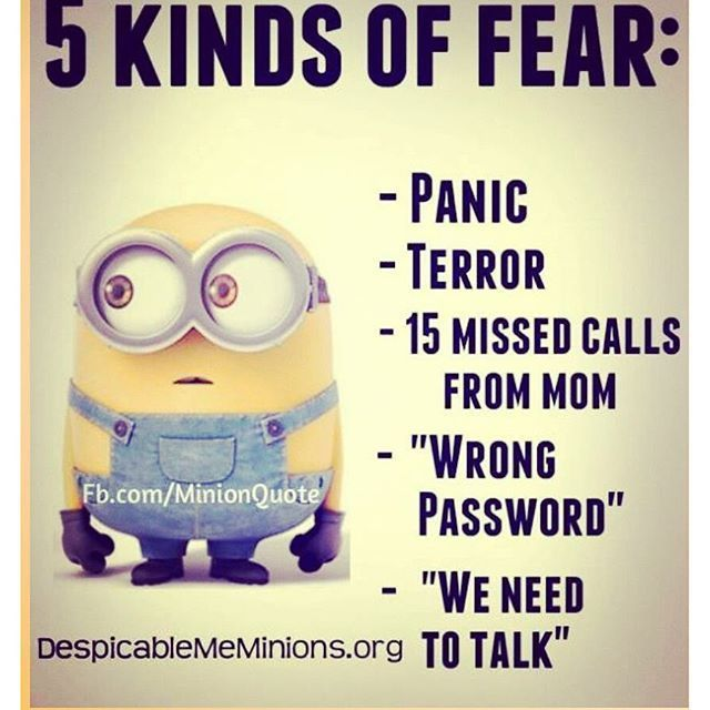 5 Kinds Of Fear Minions Funny Funny Minion Quotes Minions Quotes