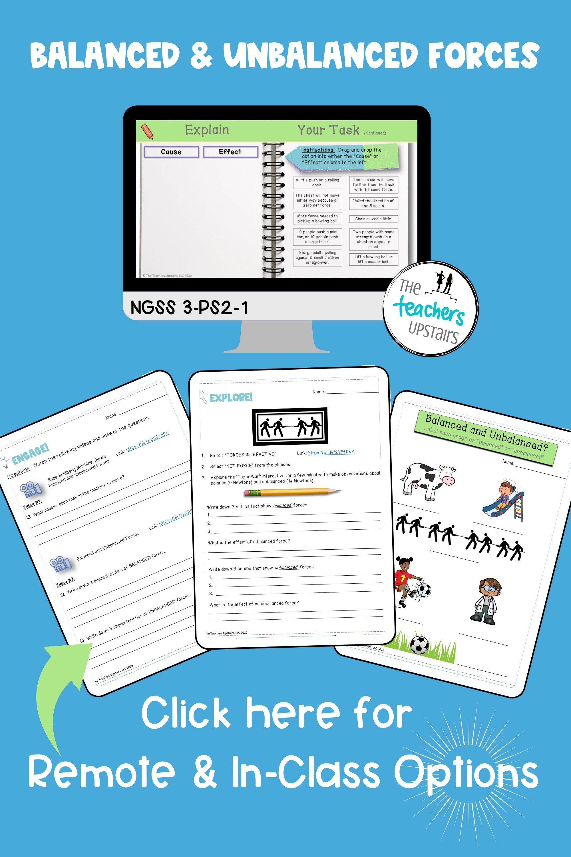 Balanced And Unbalanced Forces Worksheets With Answer Key Digital And Print Inb Science Lessons Elementary Differentiated Instruction Elementary Student Reflection