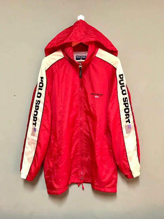 db47576b Vintage 90's Polo Sport RALPH LAUREN Windbreaker/ Hoodie/ Large with Mashed  inside
