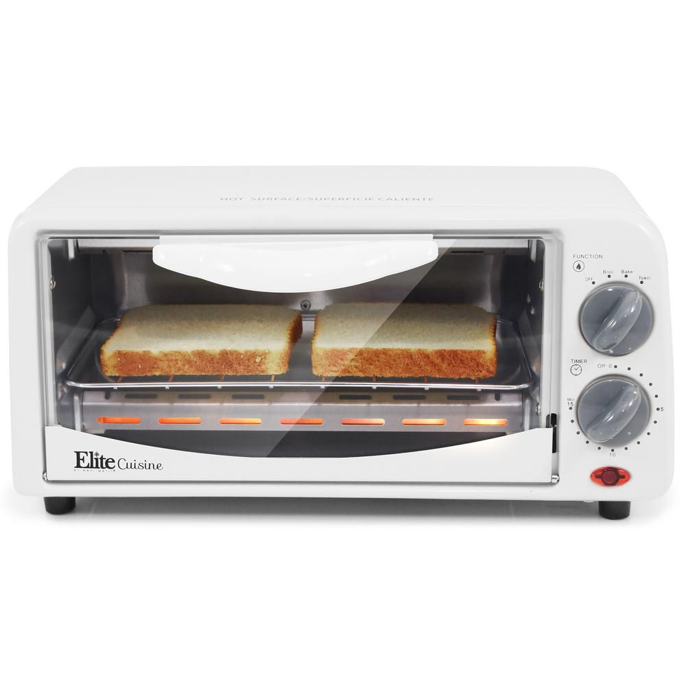 Elite Personal 650 W 2 Slice White Toaster Oven With Built In Timer Eto 224 The Home Depot In 2020 Toaster Oven White Toaster Countertop Toaster Oven