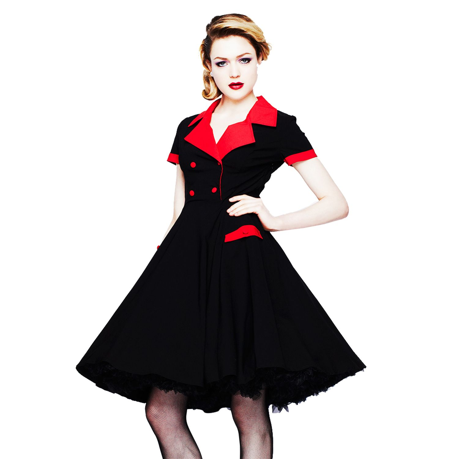 Hell bunny love day black red retro 1950s vintage fit n flare ...