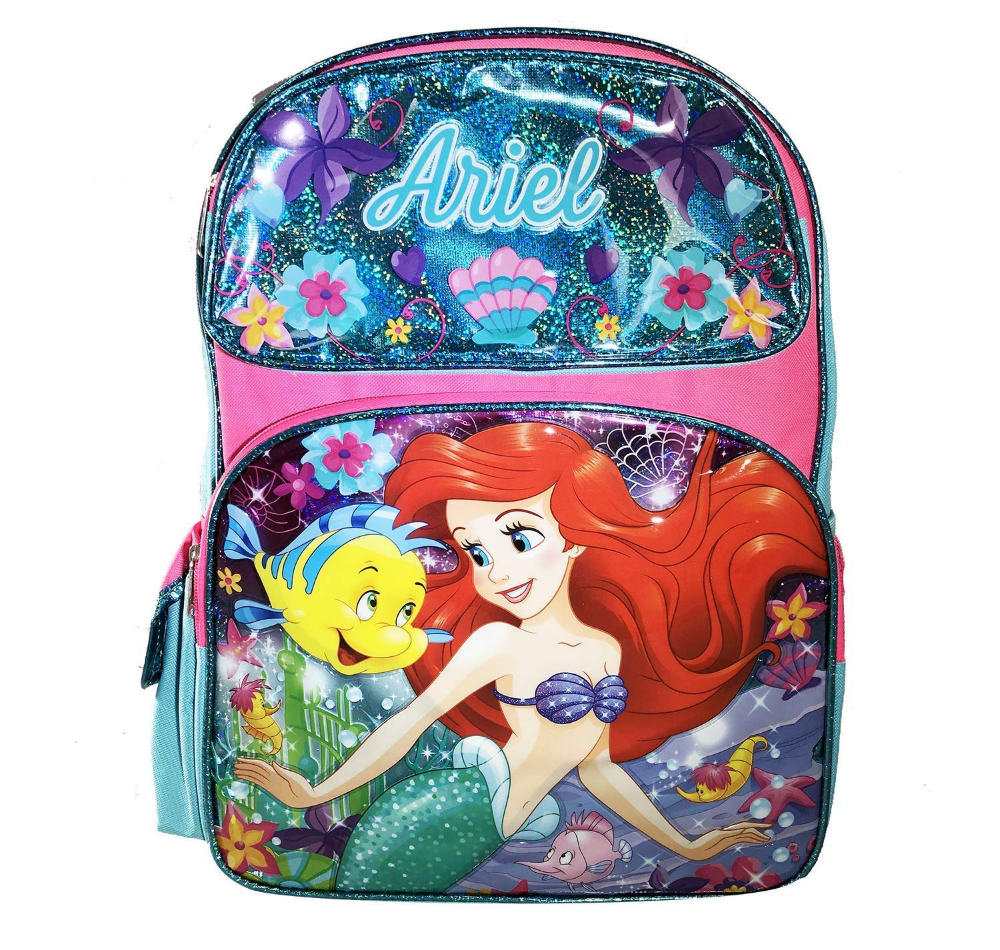 """Disney The Little Mermaid Ariel 16/"""" Large School Backpack Plus Lunch Bag"""