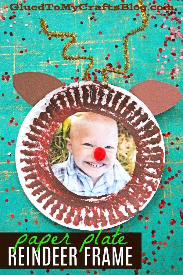 Paper Plate Reindeer Frame - Kid Craft For Christmas